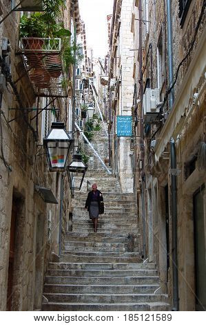 26 march 2009-Dubrovnick-croazia- Ancient streets in the town of Dubrovnick in cccroaziacroatia