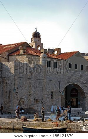 26 march 2009-Dubrovnick-croazia- View of the harbor from the city of dubrovnik
