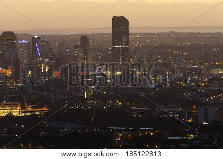 First light over Brisbane city, zoomed in view from Mt Coot-tha lookout