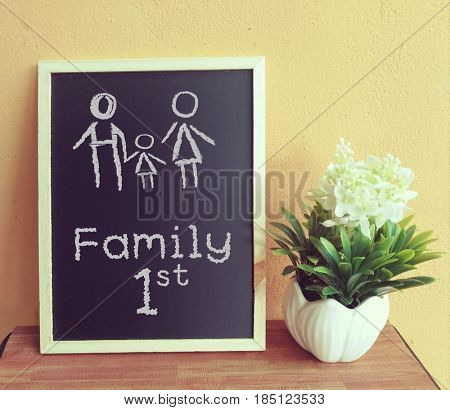 Family first chalkboard