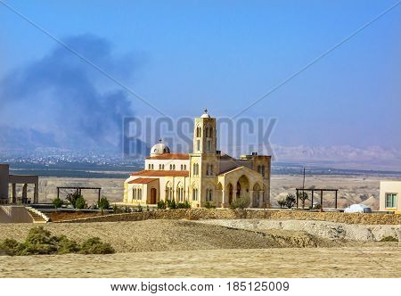 New Christian Church Jesus Baptism Site John Baptist Bethany Beyond Jordan. Actual baptism site of Jesus. Jordan River Moved and Ruins are of Byzantine Churches marking spot of baptism. Rediscovered late 1990s and early 2000. Church opened 2011