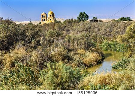Jordan River John Baptist Greek Orthodox Church Jesus Baptism Site John Baptist Bethany Beyond Jordan. Actual baptism site of Jesus. Jordan River Moved and Ruins are of Byzantine Churches marking spot of baptism. Rediscovered late 1990s and early 2000. Ch