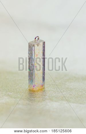 Crystal Made Of Epoxy Resin And Glitters Close-up
