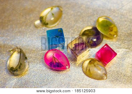 Crystals Made Of Epoxy Resin With Glitters And Flowers