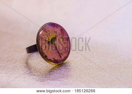 Ring With Crystal Made Of Epoxy Resin And Flower