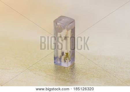 Transparent Crystal Made Of Epoxy Resin And Flower Close-up