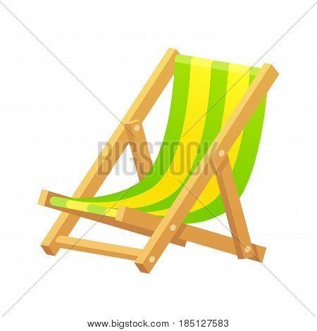 Wooden beach lounge chair vector illustration isolated on white background. Classic striped cartoon chaise longue.