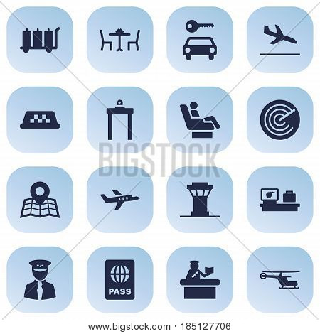 Set Of 16 Aircraft Icons Set.Collection Of Radiolocator, Automobile, Letdown And Other Elements.