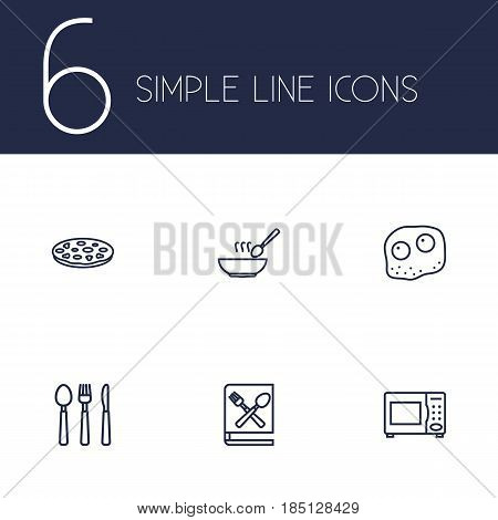 Set Of 6 Kitchen Outline Icons Set.Collection Of Omelette, Cutlery, Soup And Other Elements.