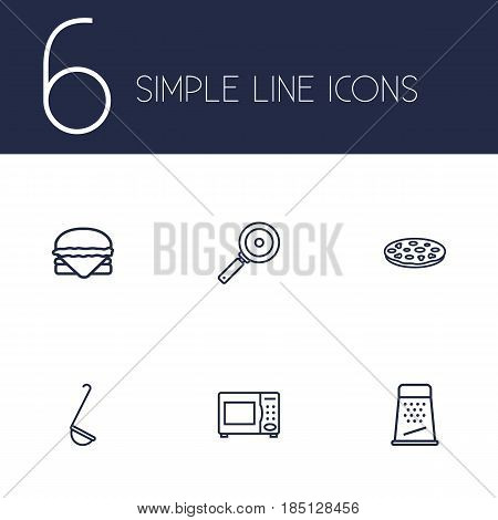 Set Of 6 Kitchen Outline Icons Set.Collection Of Pizza, Microwave, Grater And Other Elements.
