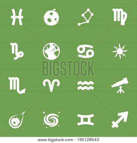 Set Of 16 Galaxy Icons Set.Collection Of Binoculars, Zodiac Sign, Fishes And Other Elements.