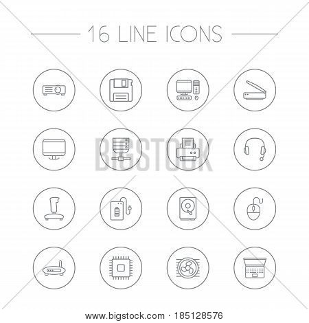 Set Of 16 Computer Outline Icons Set.Collection Of Computer Mouse, Gamepad, Projector And Other Elements.