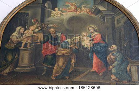 DUBROVNIK, CROATIA - NOVEMBER 08: Nativity Scene painting in the convent of the Friars Minor in Dubrovnik, November 08, 2016.