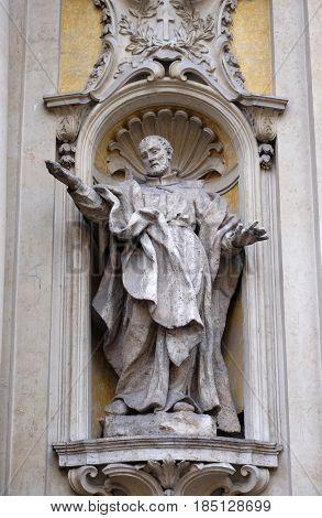 ROME, ITALY - SEPTEMBER 05: Saint Philip Neri, facade of Santa Maria Maddalena Church in Rome, Italy on September 05, 2016.