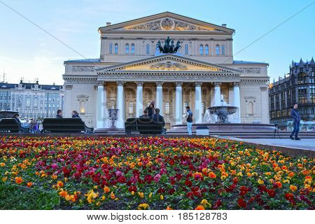 Moscow, Russia - May, 3, 2017: Flower bed in front of Big Theater in Moscow, Russia
