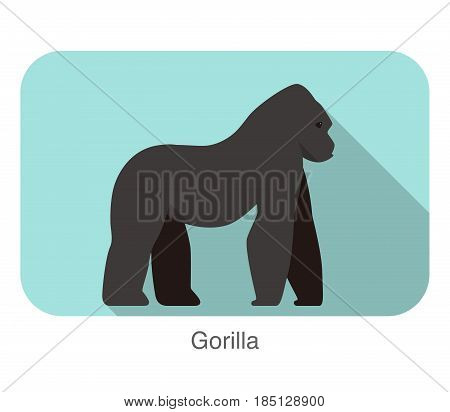 Strong Gorilla Walking Flat Icon, Vector