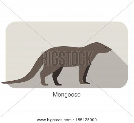 simple mongoose standing and watching vector illustration
