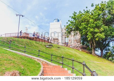 MALACCA, MALAYSIA - AUGUST 12: St. Paul's church facade on August 12, 2016 in Malacca Malaysia.St.Paul's church was built in 1521 by the Portuguese.It was used as a fortress for a period of time.