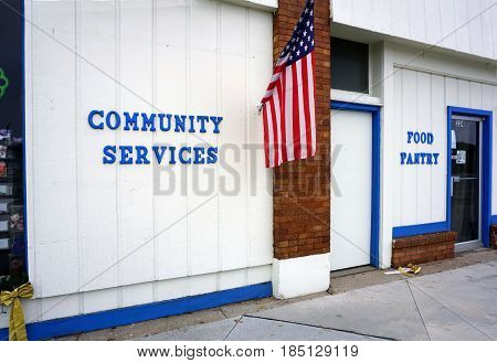 KALKASKA, MICHIGAN / UNITED STATES - NOVEMBER 27, 2016: Kalkaska Area Interfaith Resources (KAIR) provides a food pantry and community services on Cedar Street in downtown Kalkaska.