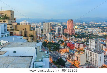 KUALA LUMPUR, MALAYSIA - AUGUST 14, 2016: Kuala Lumpur cityscape during blue hour from the top of Regalia Residence Kuala Lumpur Malaysia.