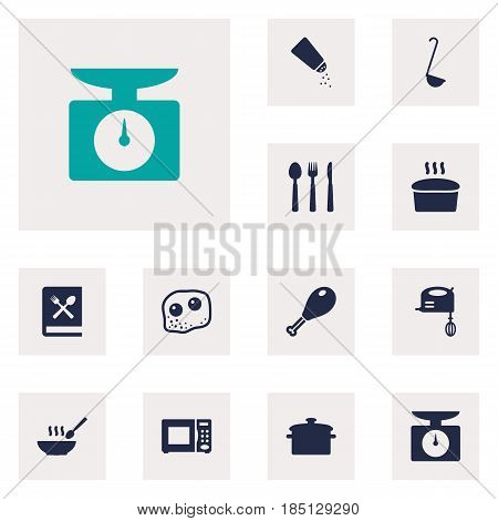Set Of 12 Cooking Icons Set.Collection Of Electronic Oven, Weighing Machine, Eggs And Other Elements.