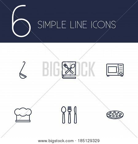 Set Of 6 Kitchen Outline Icons Set.Collection Of Microwave, Ladle, Pizza And Other Elements.