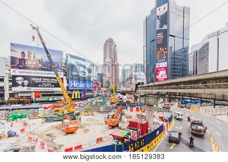 KUALA LUMPUR, MALAYSIA - AUGUST 15, 2016: Monorail station of Bukit Bintang in Kuala Lumpur Malaysia on August 15 2016. The station is a shopping hub in the Kuala Lumpur Golden Triangle commercial district.