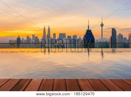 KUALA LUMPUR, MALAYSIA - AUGUST 14, 2016: Kuala Lumpur cityscape showing Petronas twin tower also known as KLCC building during sunrise from the top of Regalia Residence Kuala Lumpur Malaysia.