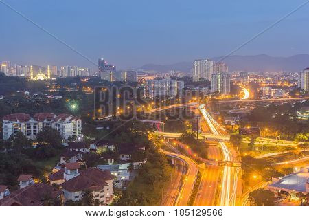 KUALA LUMPUR, MALAYSIA - AUGUST 15, 2016: Kuala Lumpur cityscape from high angle and its surrounding urban areas form the most economically growing region in Malaysia.