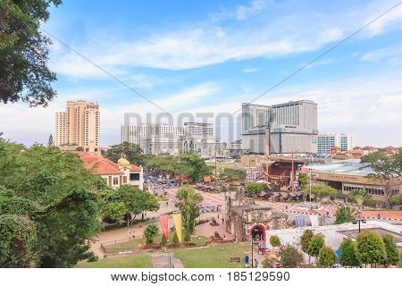 MALACCA, MALAYSIA - DEC 12, 2016: View of Malacca city from St. Paul's Church. Malacca City is the capital city of the Malaysian state of Malacca and listed a UNESCO World Heritage Site on 7 July 2008