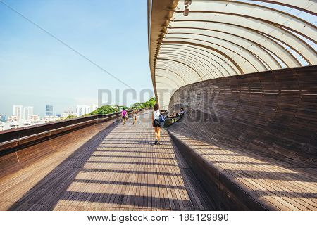 SINGAPORE - MAY 2, 2016: Singapore Henderson wave bridge at Mount Faber Park The Henderson Waves bridge is the highest pedestrian bridge in Singapore.;