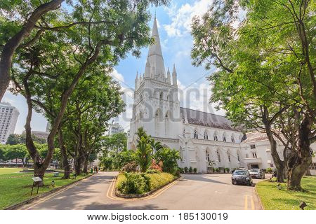 SINGAPORE - MAY 15, 2016: Day scene of St Andrew's Cathedral in Singapore. St Andrew's Cathedral is one of the famous tourist attraction in Singapore.
