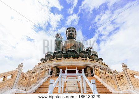 Tian Tan Buddha Statue at Polin monastery Ngong Ping Lantau island Hong Kong