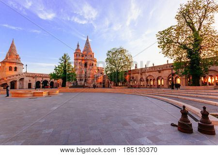 BUDAPEST, HUNGARY - APRIL 14, 2016: View on the Old Fishermen Bastion in Budapest at morning time Hungary.
