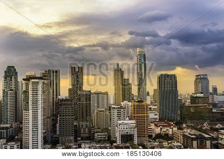 abstract cityscape on sunset time and cloud with sun light filter - can use to display or montage on product