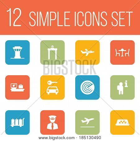 Set Of 12 Aircraft Icons Set.Collection Of Automobile, Cab, Radiolocator And Other Elements.