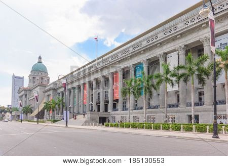 SINGAPORE - MAY 16, 2016: Old Supreme Court and National Gallery in Singapore. View from Padang former cricket field