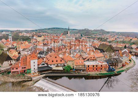 CESKY KRUMLOVCZECH REPUBLIC - APRIL 15, 2016: Aerial view over the old Town of Cesky Krumlov Czech Republic