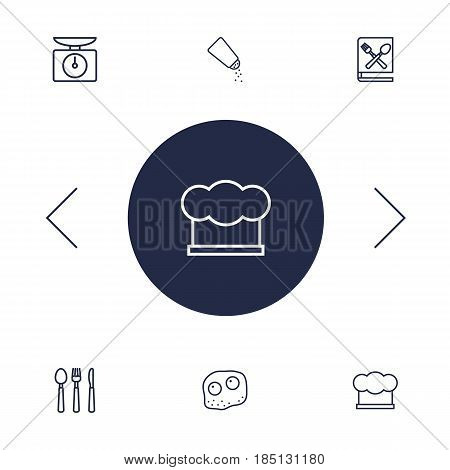 Set Of 6 Cooking Outline Icons Set.Collection Of Cutlery, Scales, Hat And Other Elements.