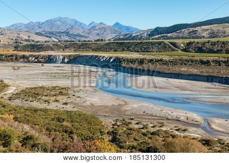 meandering river in Awatere valley in New Zealand