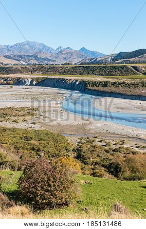 aerial view of Awatere valley in Marlborough, New Zealand