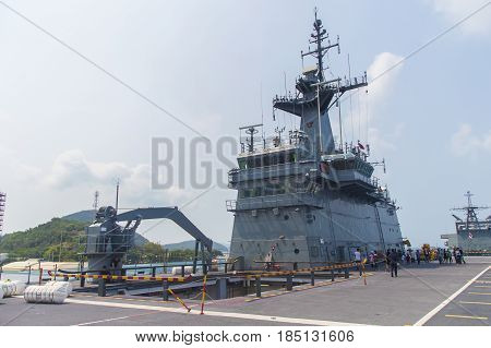 RayongThailand-26 April 2017:HTMS Chakri Naruebet the flagship of the Royal Thai Navy and Thailand's first and only aircraft carrier.
