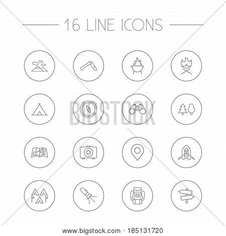 Set Of 16 Picnic Outline Icons Set.Collection Of Pocket Torch, Place Pointer, Guidepost And Other Elements.