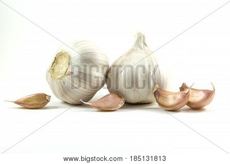 Fresh garlic and Garlic cloves isolated on white background