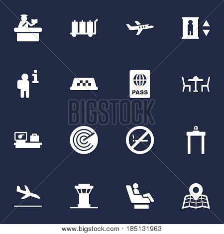 Set Of 16 Aircraft Icons Set.Collection Of Location, Restaurant, Security And Other Elements.