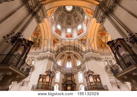 SALZBURG, AUSTRIA - APRIL 8, 2016: Interior of Salzburg Cathedral Church located on a Domeplatz in old town area of the salzburg city