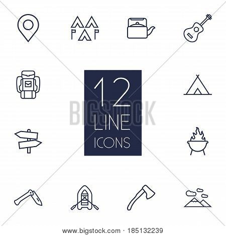 Set Of 12 Picnic Outline Icons Set.Collection Of Guidepost, Mountains, Grill And Other Elements.