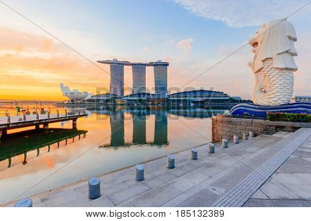 SINGAPORE-MAY 15 : The Merlion and the Marina Bay Sands Resort Hotel billed as the world's most expensive standalone casino property at S$8 billion on May 15 2016 in Singapore.