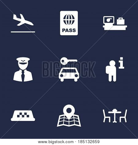 Set Of 9 Airplane Icons Set.Collection Of Data, Automobile, Letdown And Other Elements.