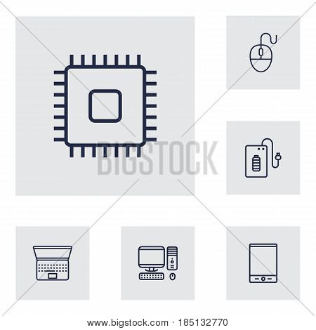 Set Of 6 Computer Outline Icons Set.Collection Of PC, Tablet, Powerbank And Other Elements.